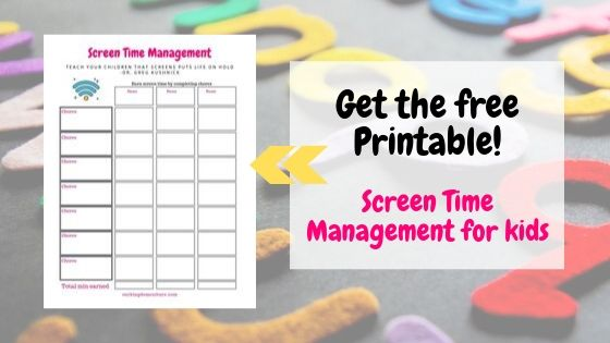 Screen time management for kids. Free Printable
